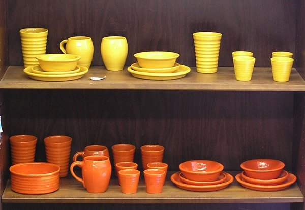 84: Bauer ringware orange yellow plate cup mug