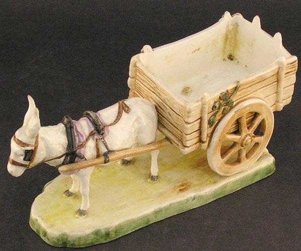 2546: Royal Dux Porcelain donkey cart