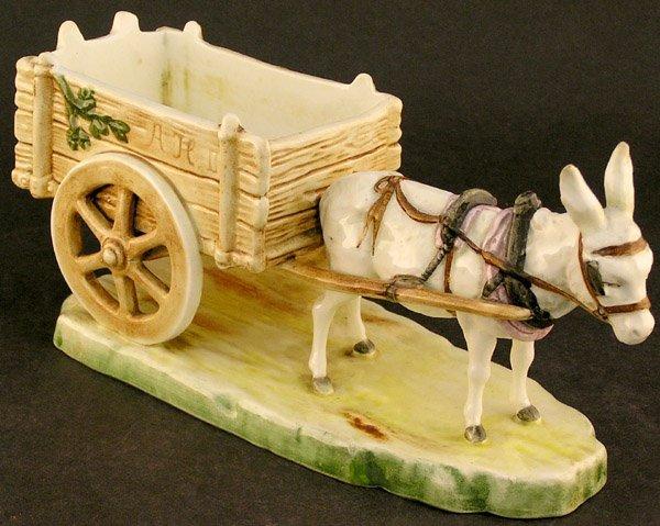 2546: Royal Dux Porcelain donkey cart - 2