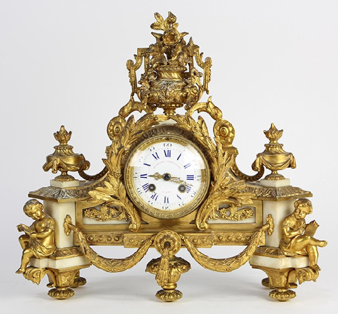 French Neoclassical-style gilt bronze mantle clock,