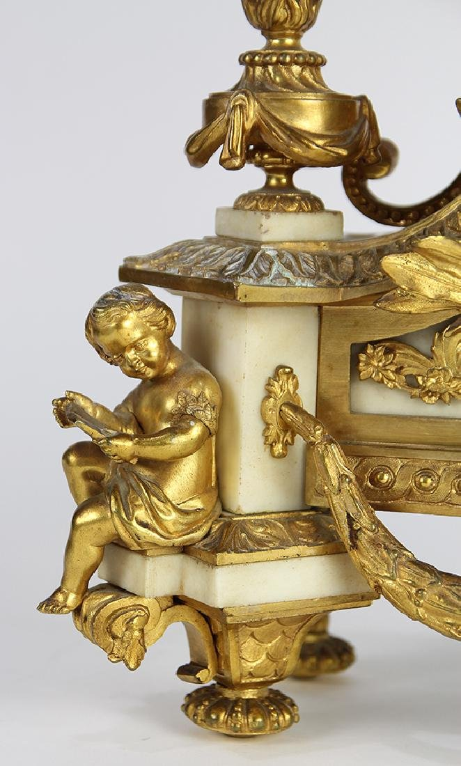 French Neoclassical-style gilt bronze mantle clock, - 3