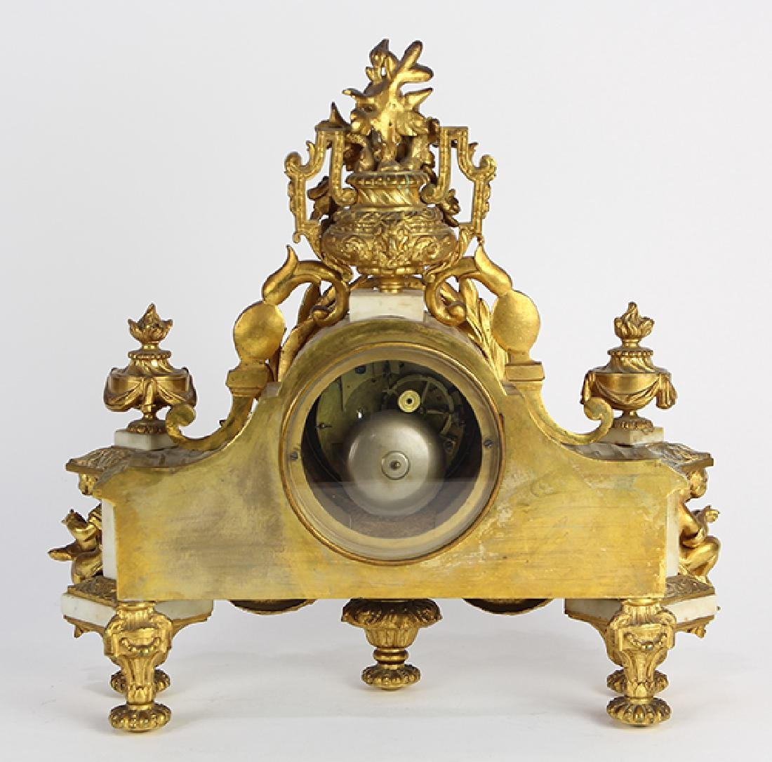 French Neoclassical-style gilt bronze mantle clock, - 6