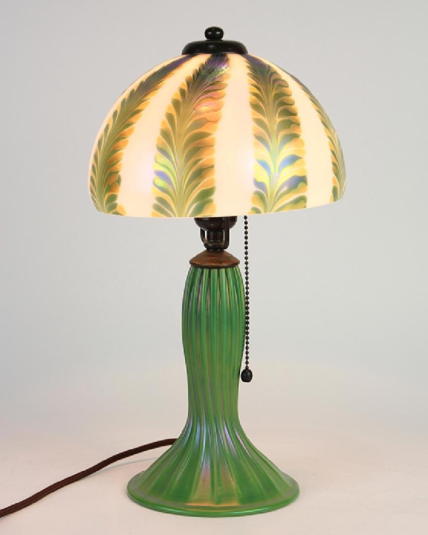 Lundberg Studios iridescent art glass table lamp