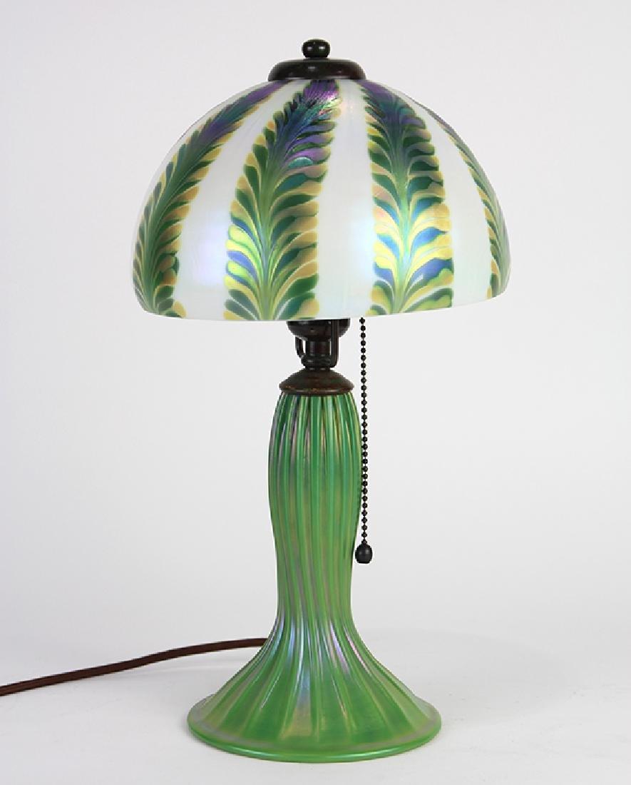 Lundberg Studios iridescent art glass table lamp - 2