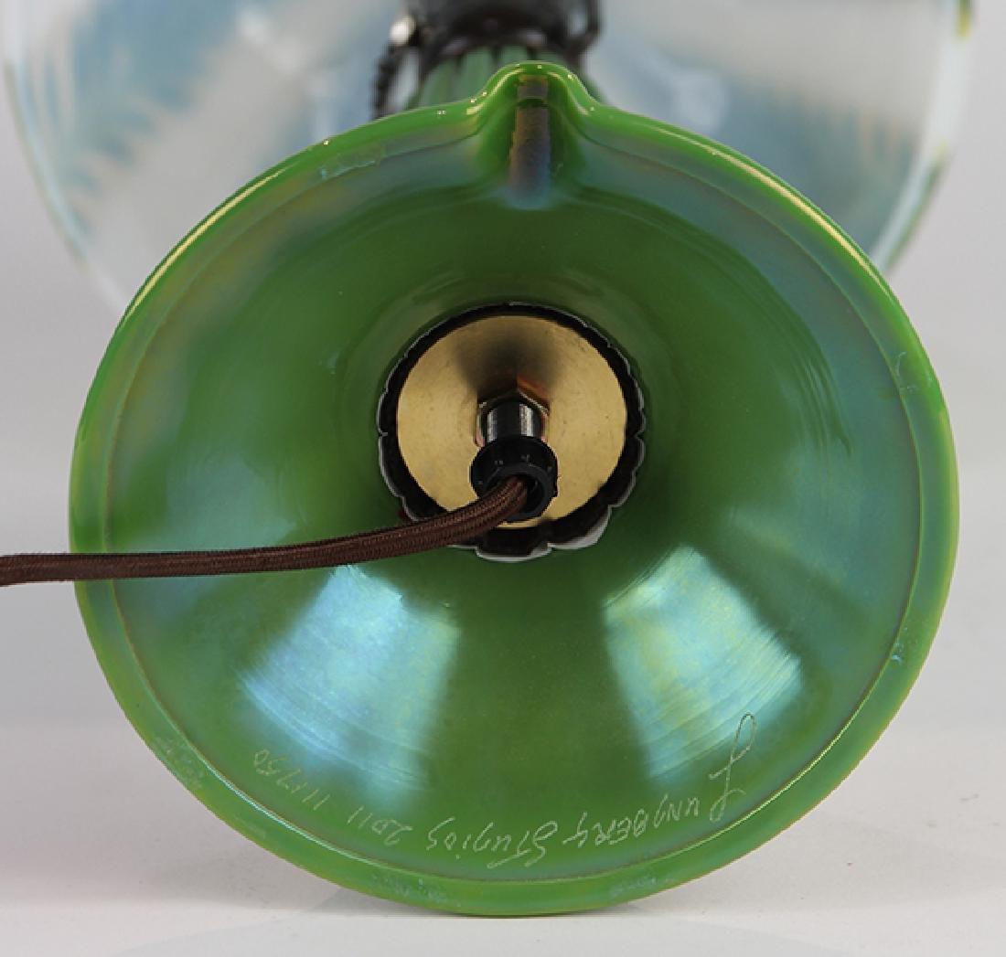 Lundberg Studios iridescent art glass table lamp - 4