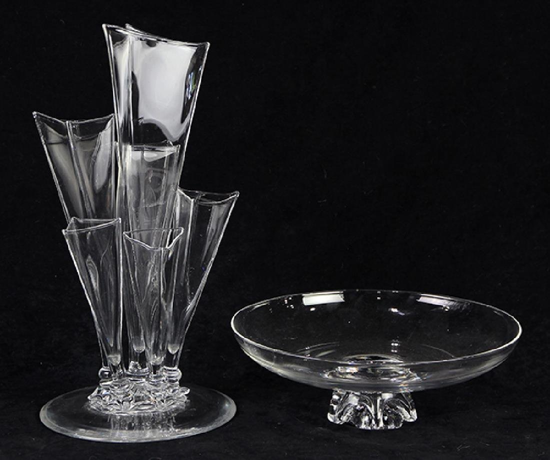 (Lot of 2) Steuben glass group, consisting of a