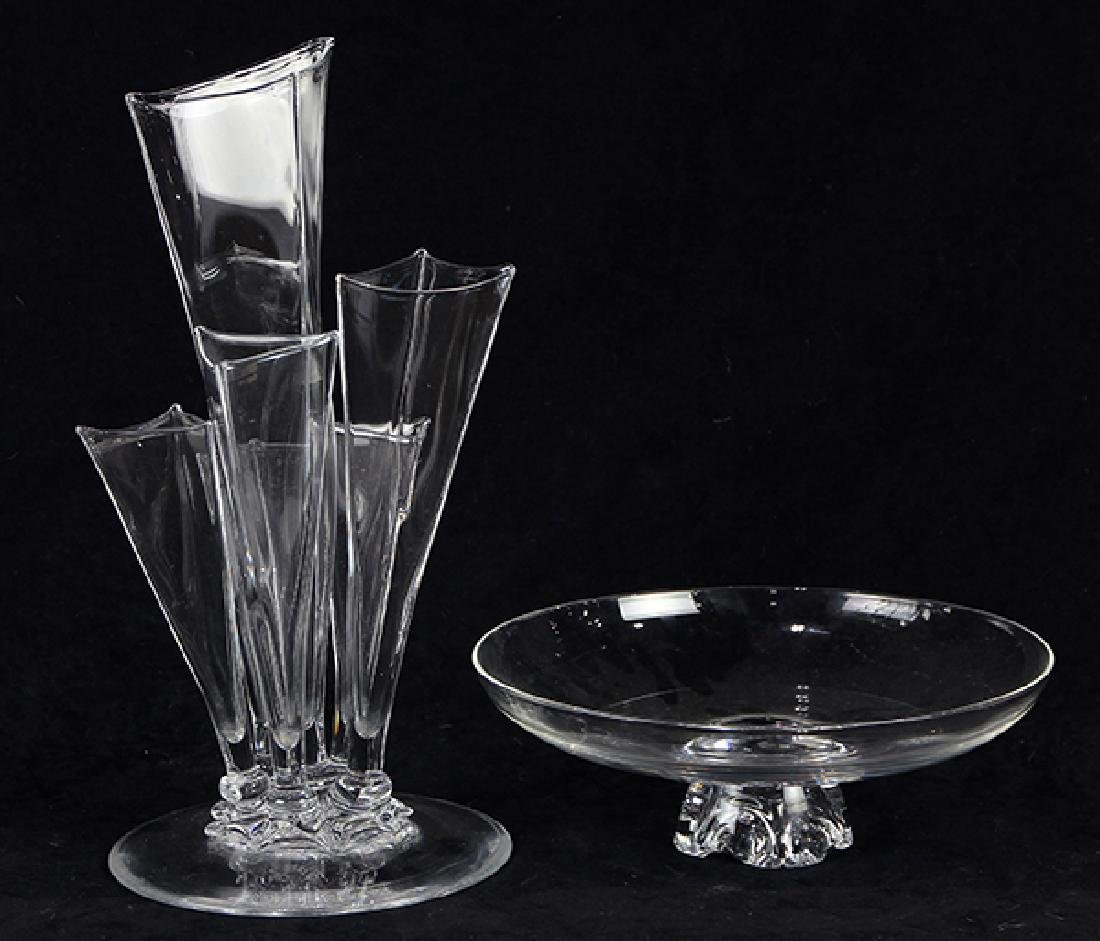 (Lot of 2) Steuben glass group, consisting of a - 2