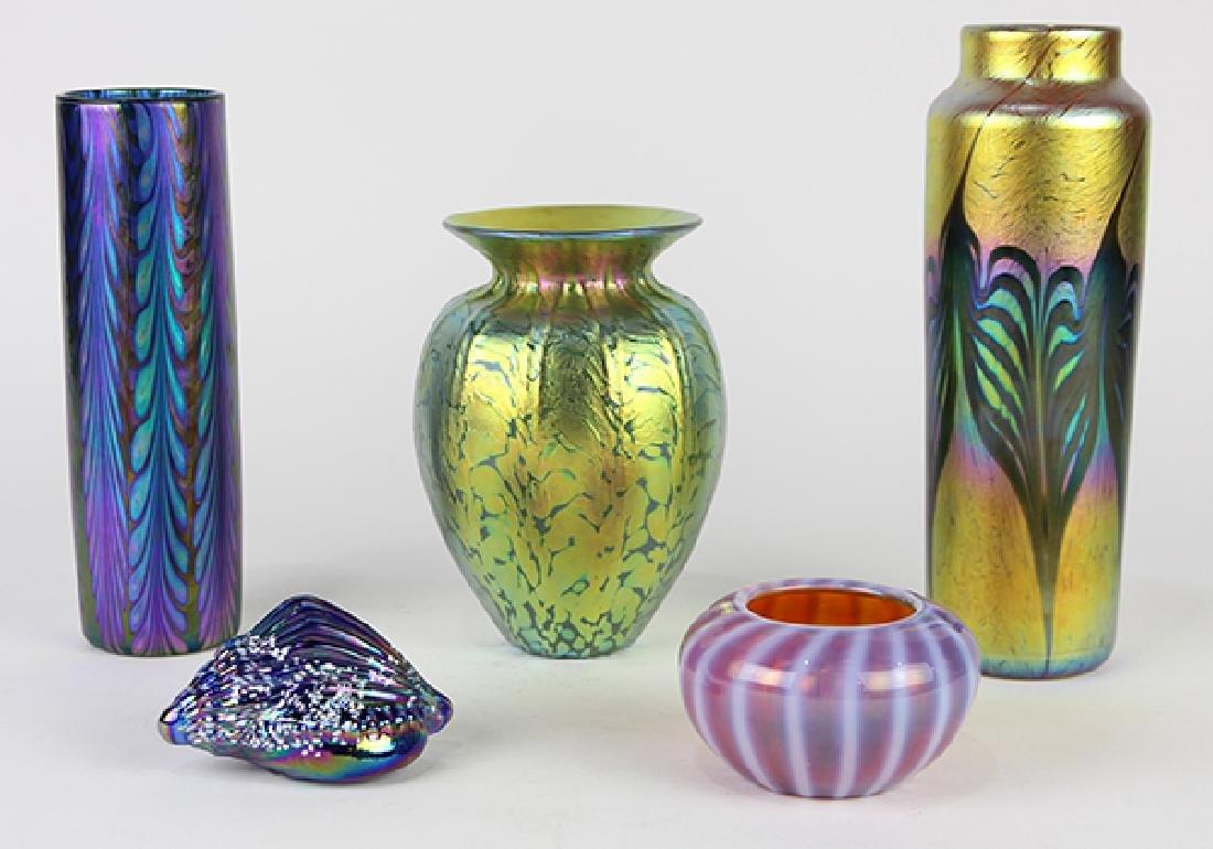 (lot of 5) Lundberg Studios vase group, each having an