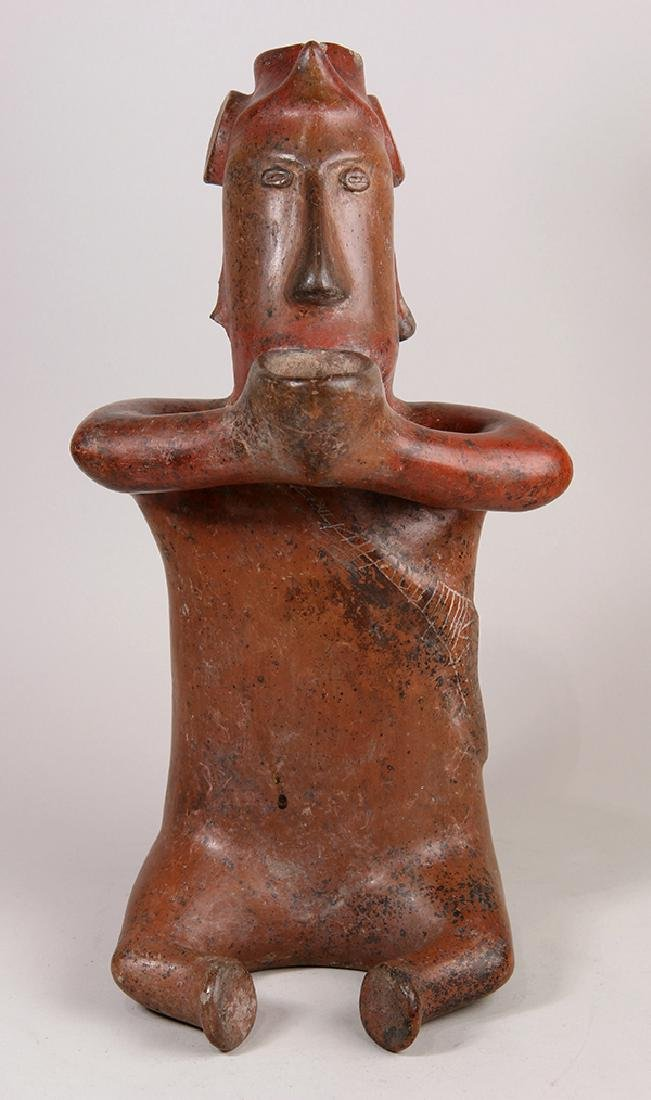 Colima red pottery seated shaman, Proto-Classic, 200 BC - 2