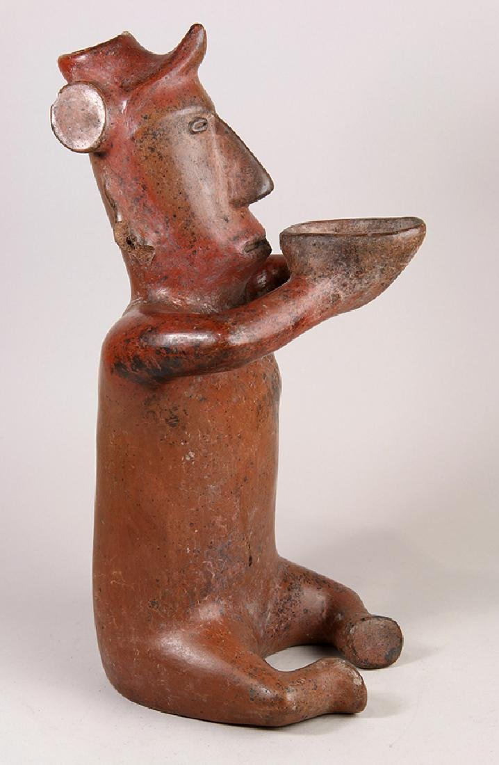 Colima red pottery seated shaman, Proto-Classic, 200 BC - 3