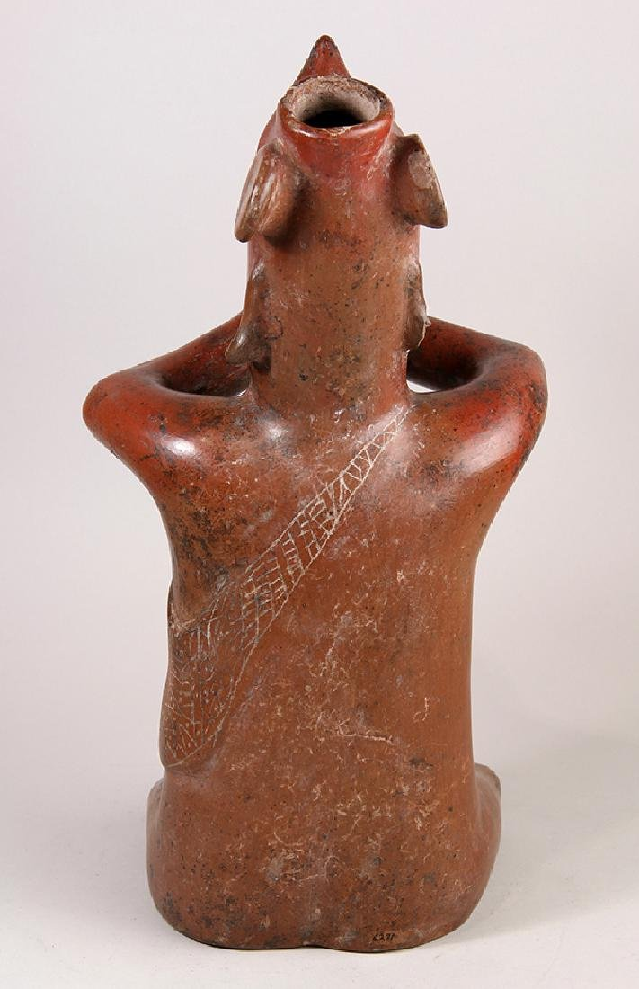 Colima red pottery seated shaman, Proto-Classic, 200 BC - 4