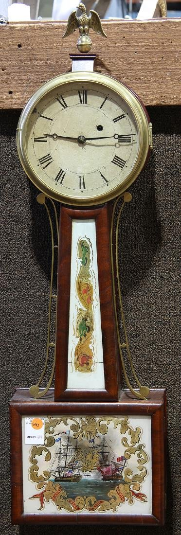 Federal mahogany and eglomise banjo clock, New England