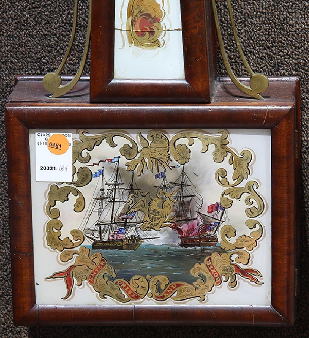 Federal mahogany and eglomise banjo clock, New England - 2