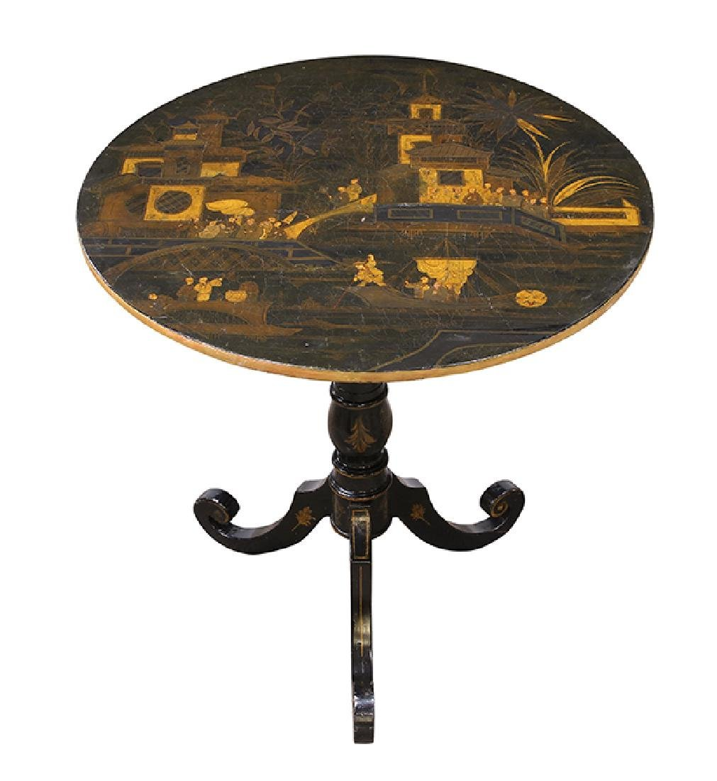 English Japanned tilt top tea table, 19th century, the
