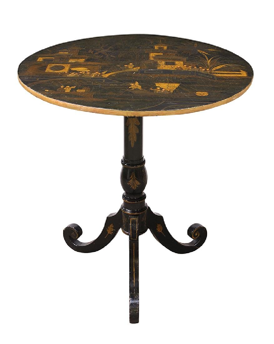 English Japanned tilt top tea table, 19th century, the - 2