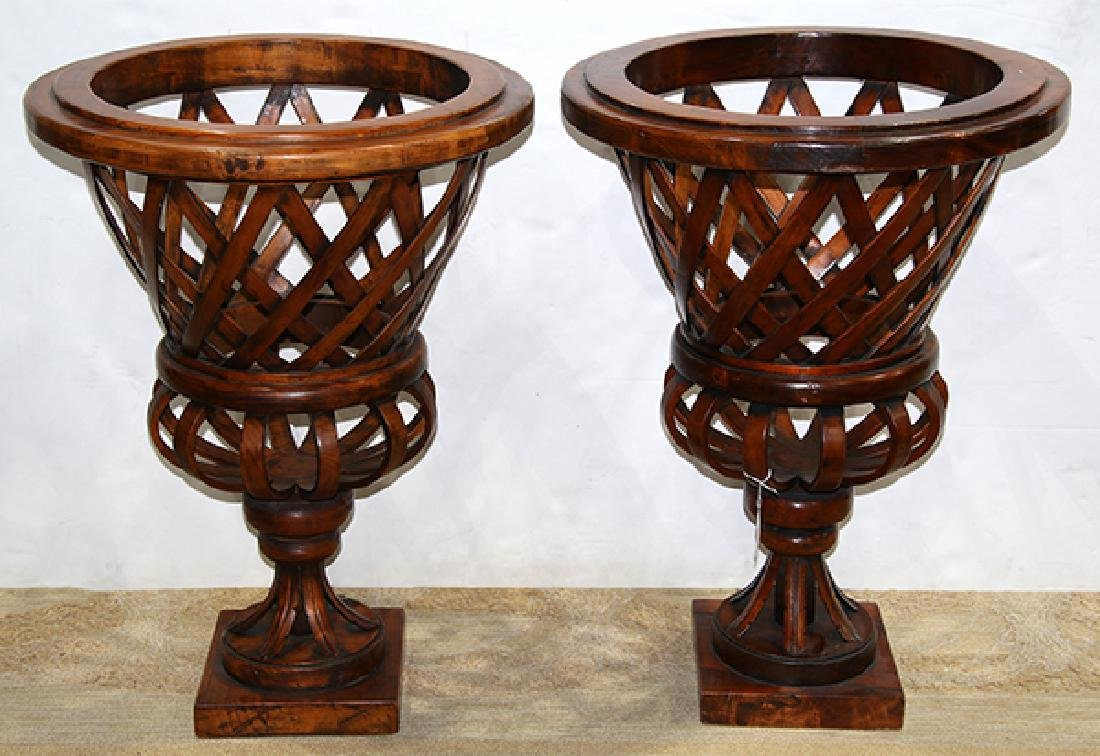 Pair of monumental bentwood jardineres, each having an
