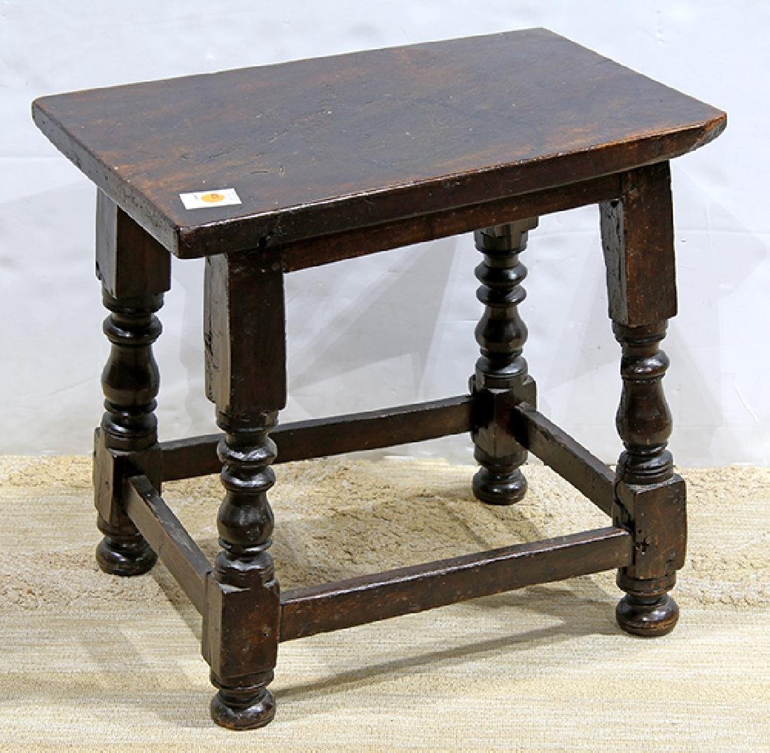 English occasional table/stool, 18th century with later