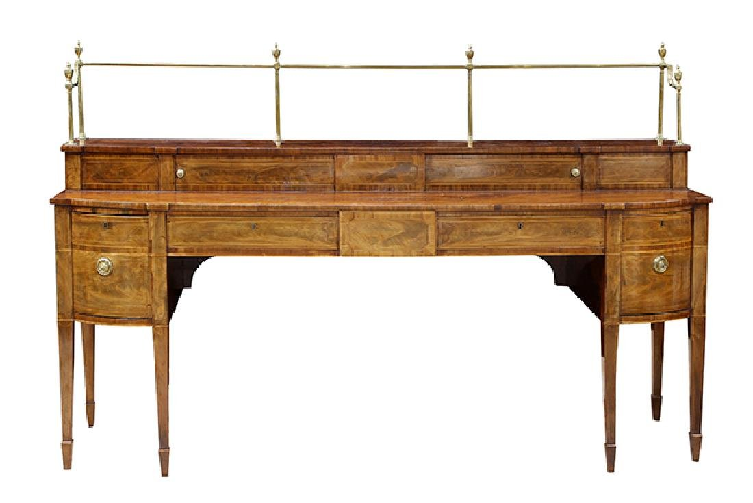 English Sheraton banded mahogany sideboard, early 19th