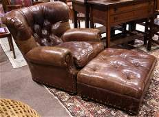 lot of 2 Ralph Lauren leather wing back chair with