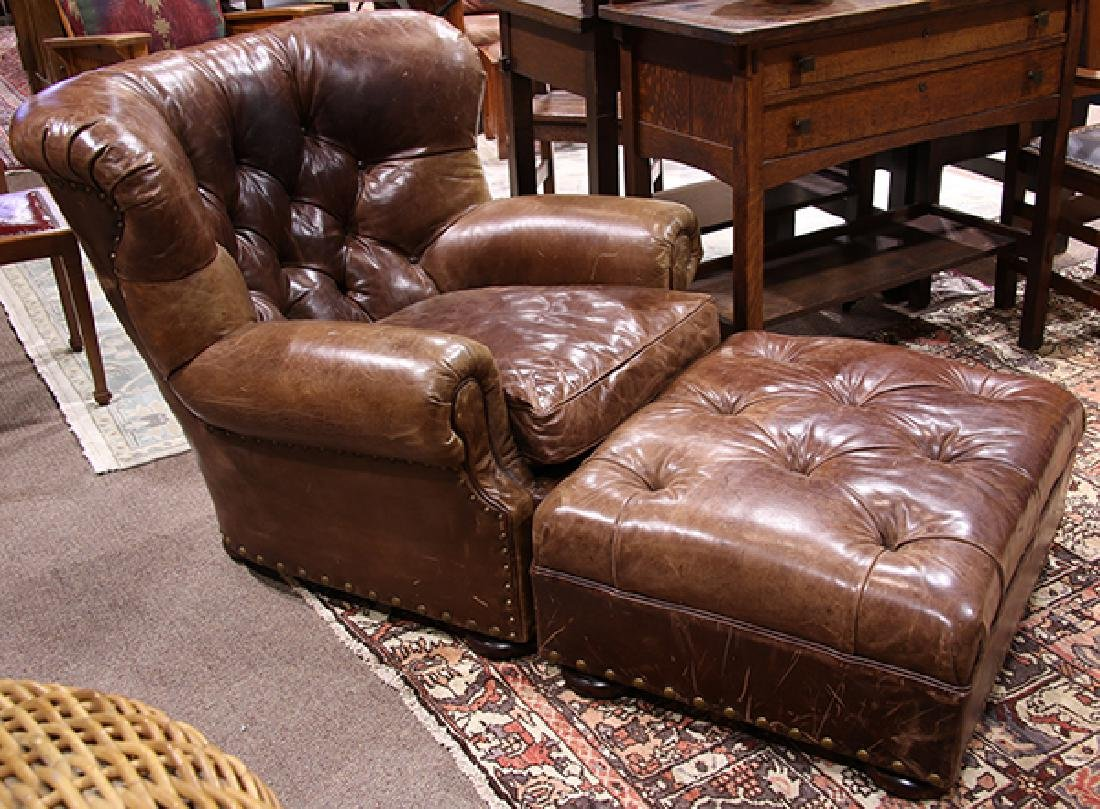 (lot of 2) Ralph Lauren leather wing back chair with
