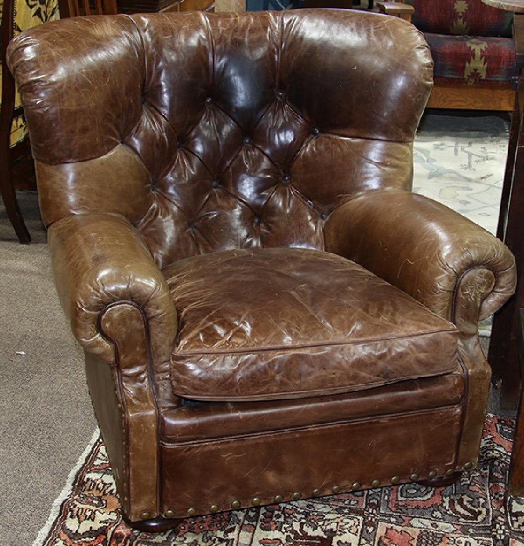 (lot of 2) Ralph Lauren leather wing back chair with - 2