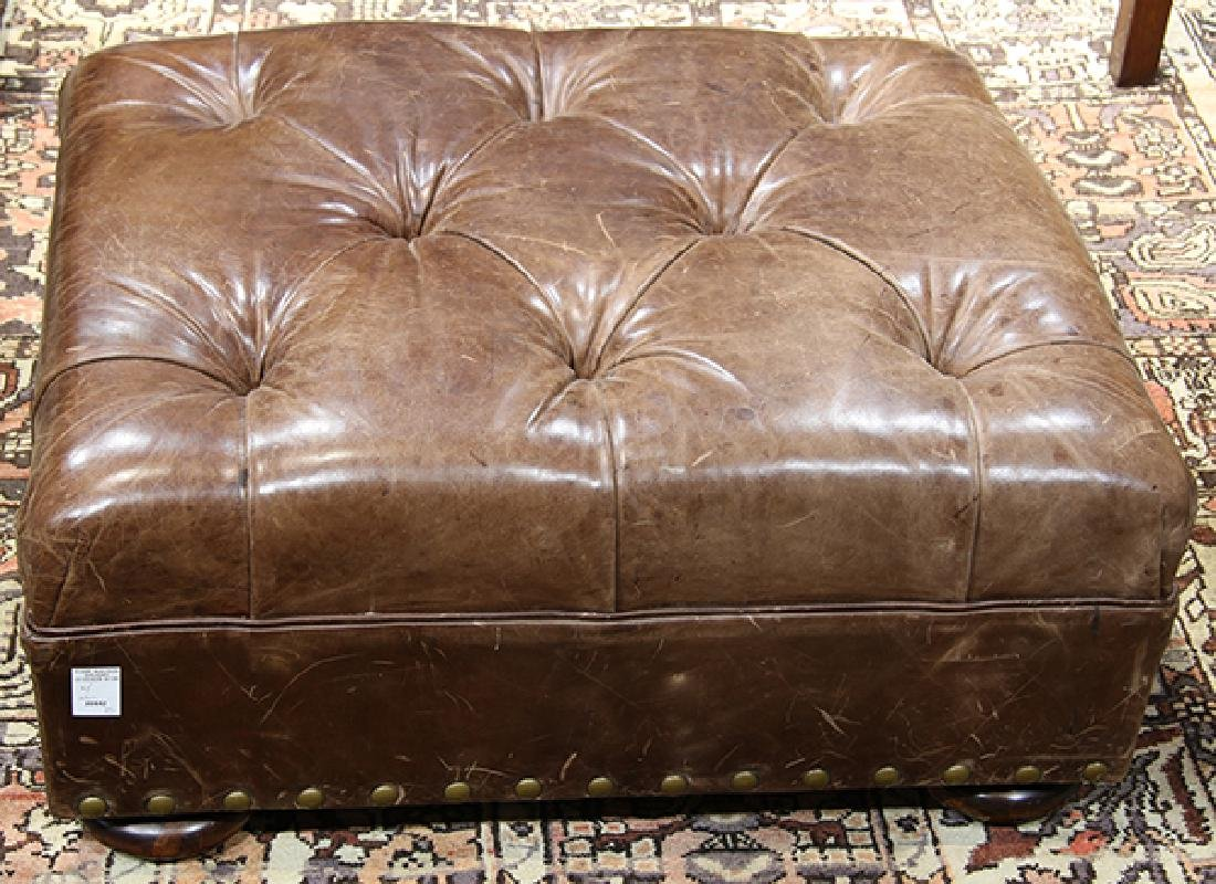 (lot of 2) Ralph Lauren leather wing back chair with - 3