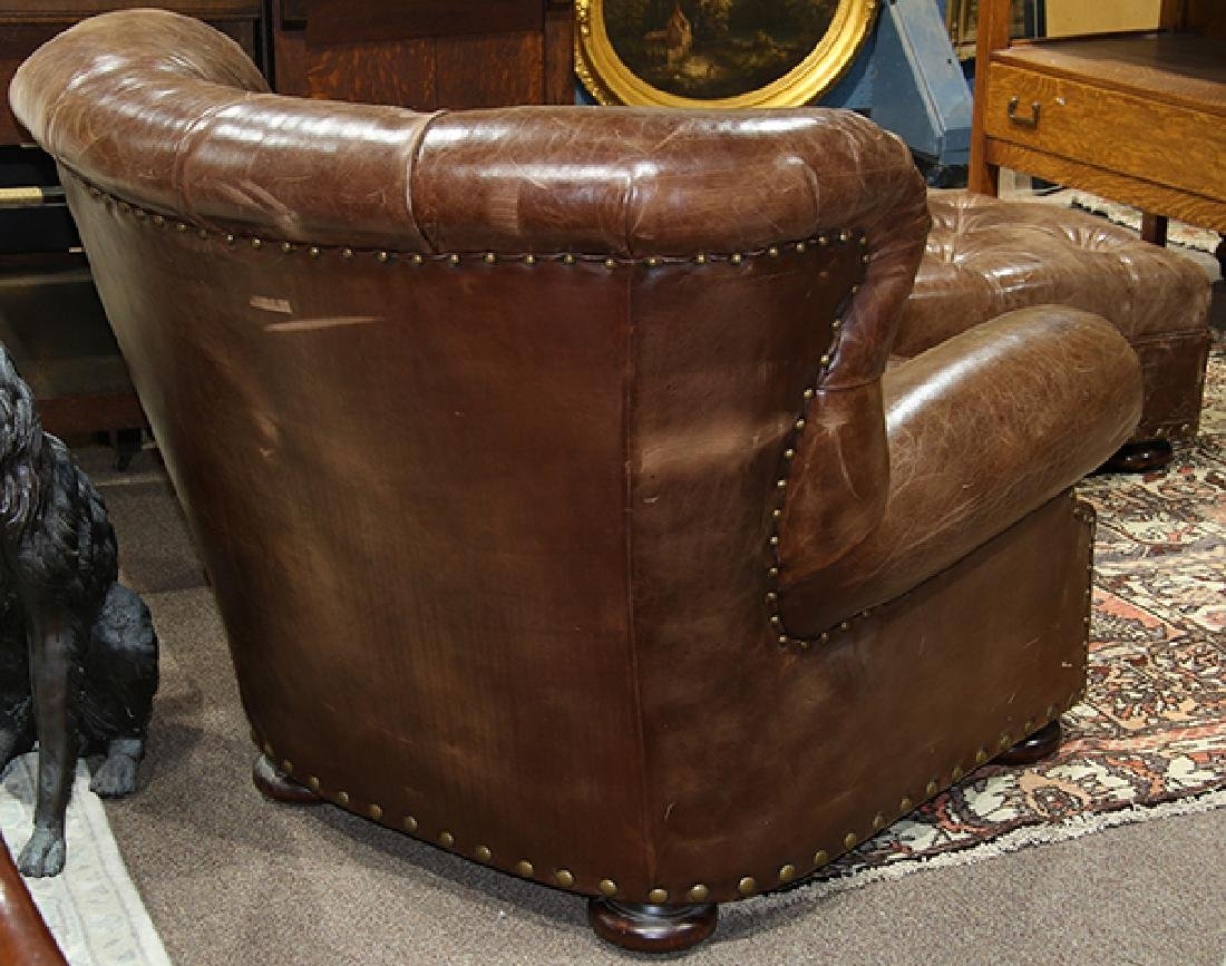 (lot of 2) Ralph Lauren leather wing back chair with - 4