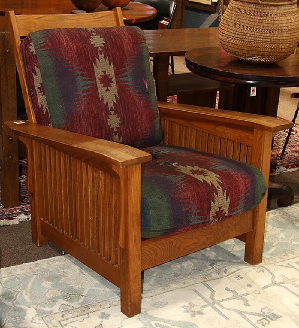 Arts and crafts style oak morris chair