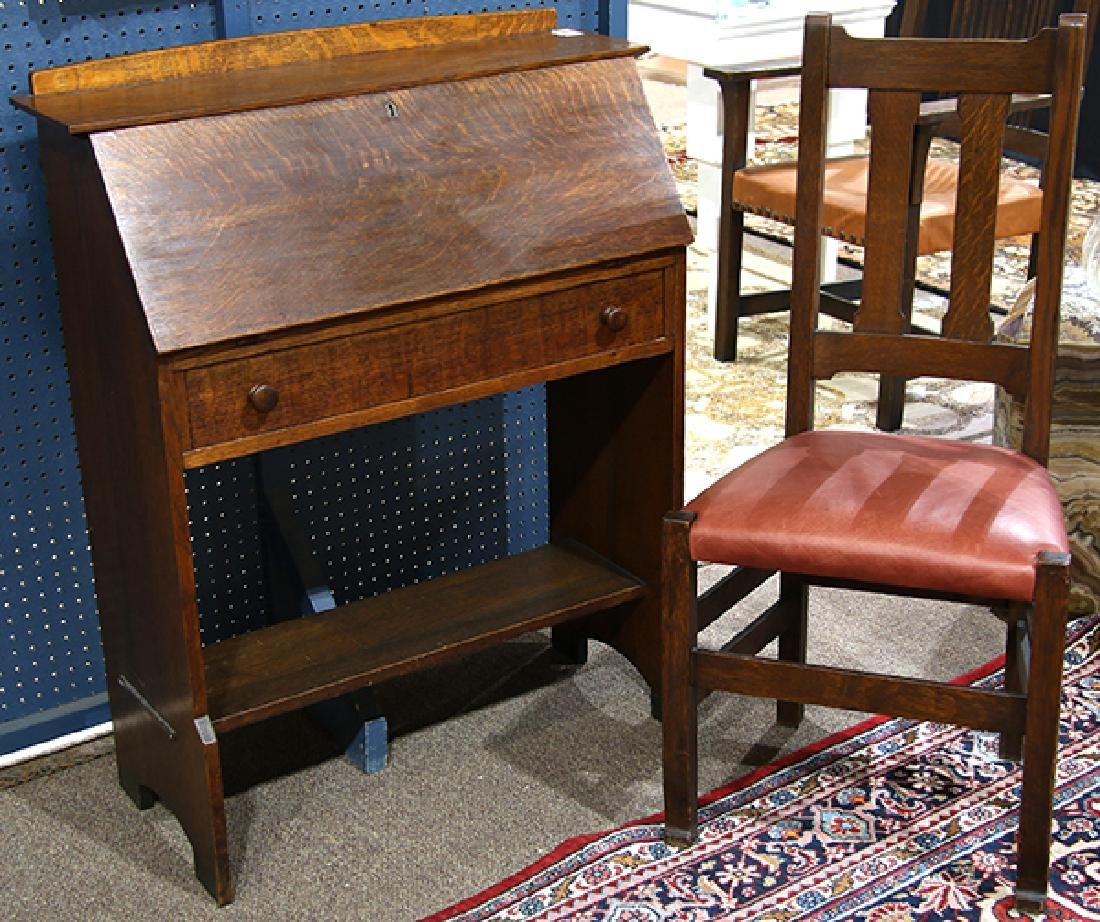 (lot of 2) Arts and Crafts L & J.G Stickley quatersawn