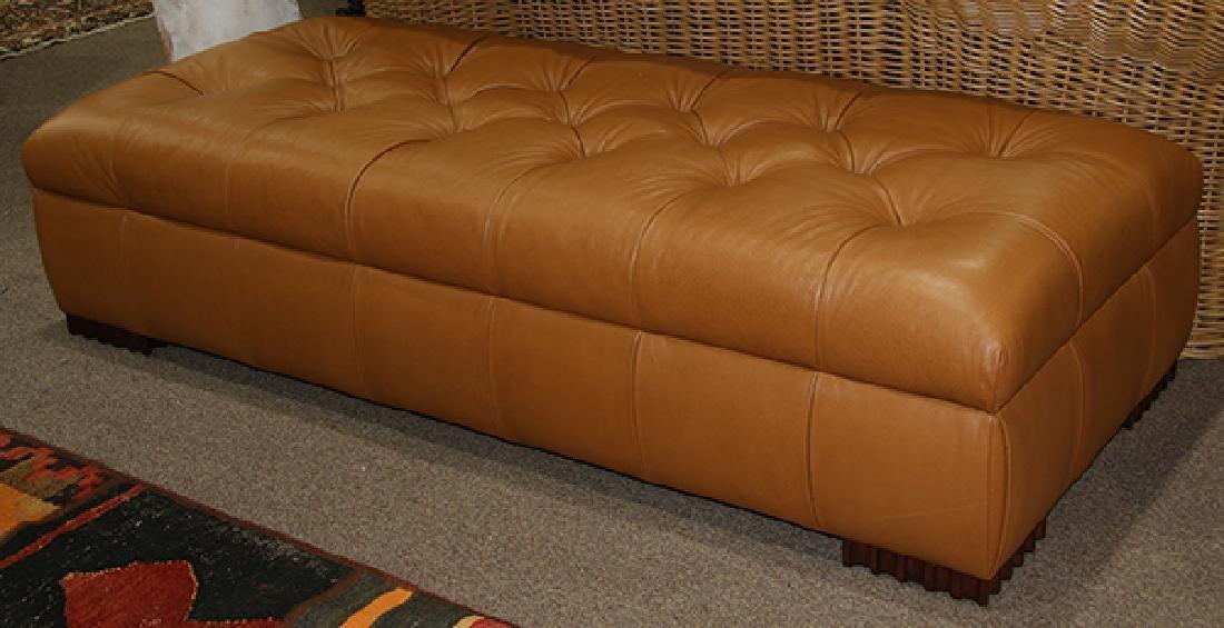 J.J Custom leather ottoman