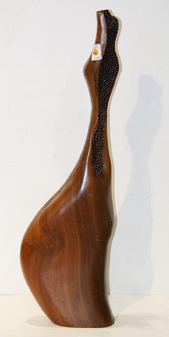 Mid Century abstract wood sculpture titled