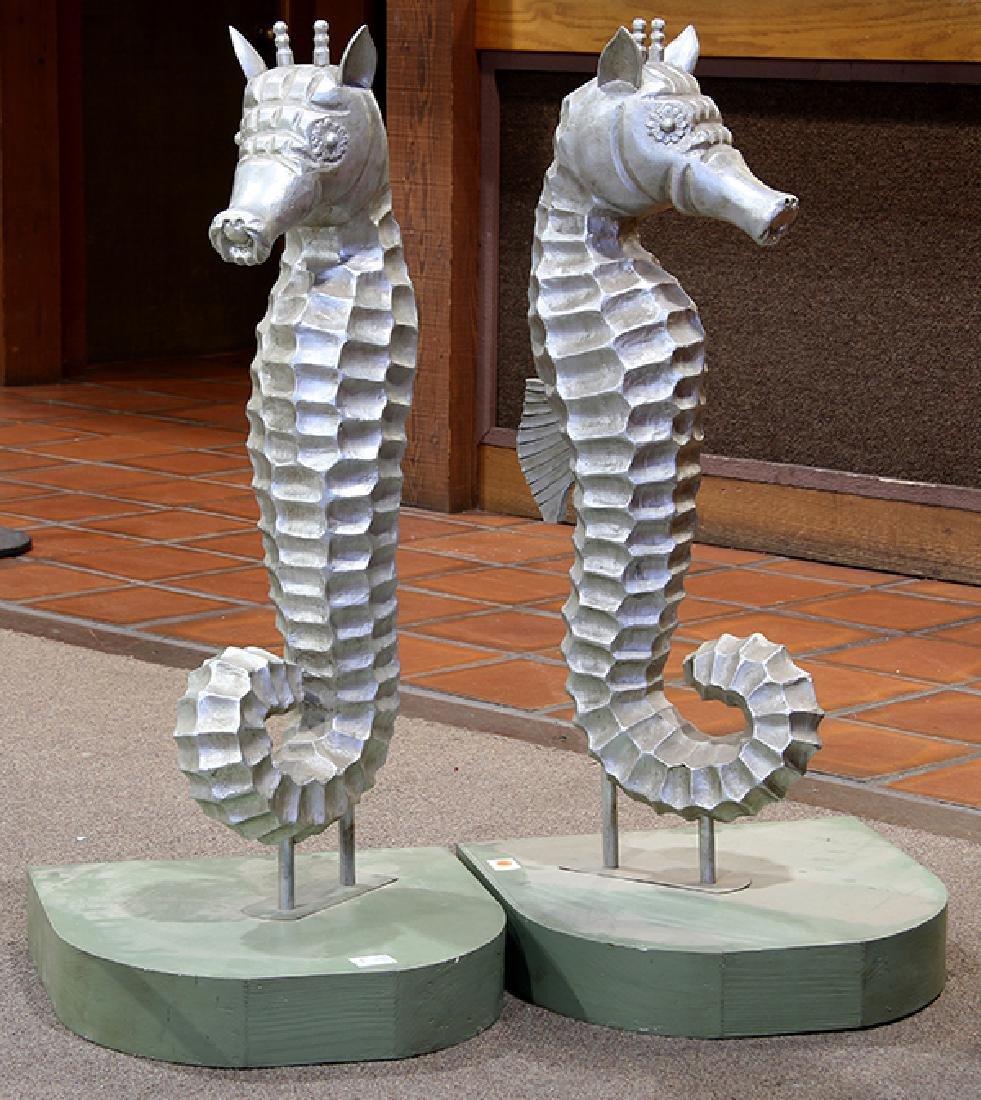 Pair of Moderne seahorse sculptures