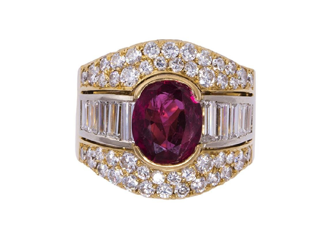 Pink sapphire, diamond and 18k yellow gold ring