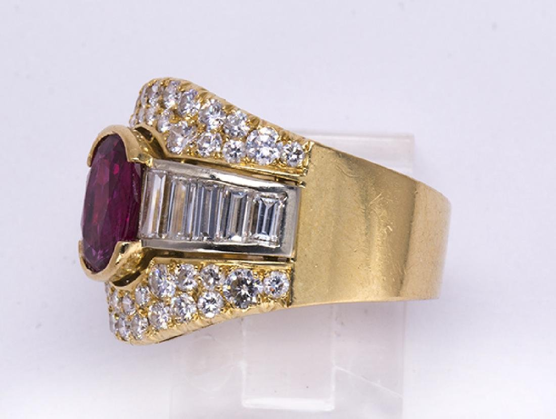 Pink sapphire, diamond and 18k yellow gold ring - 2