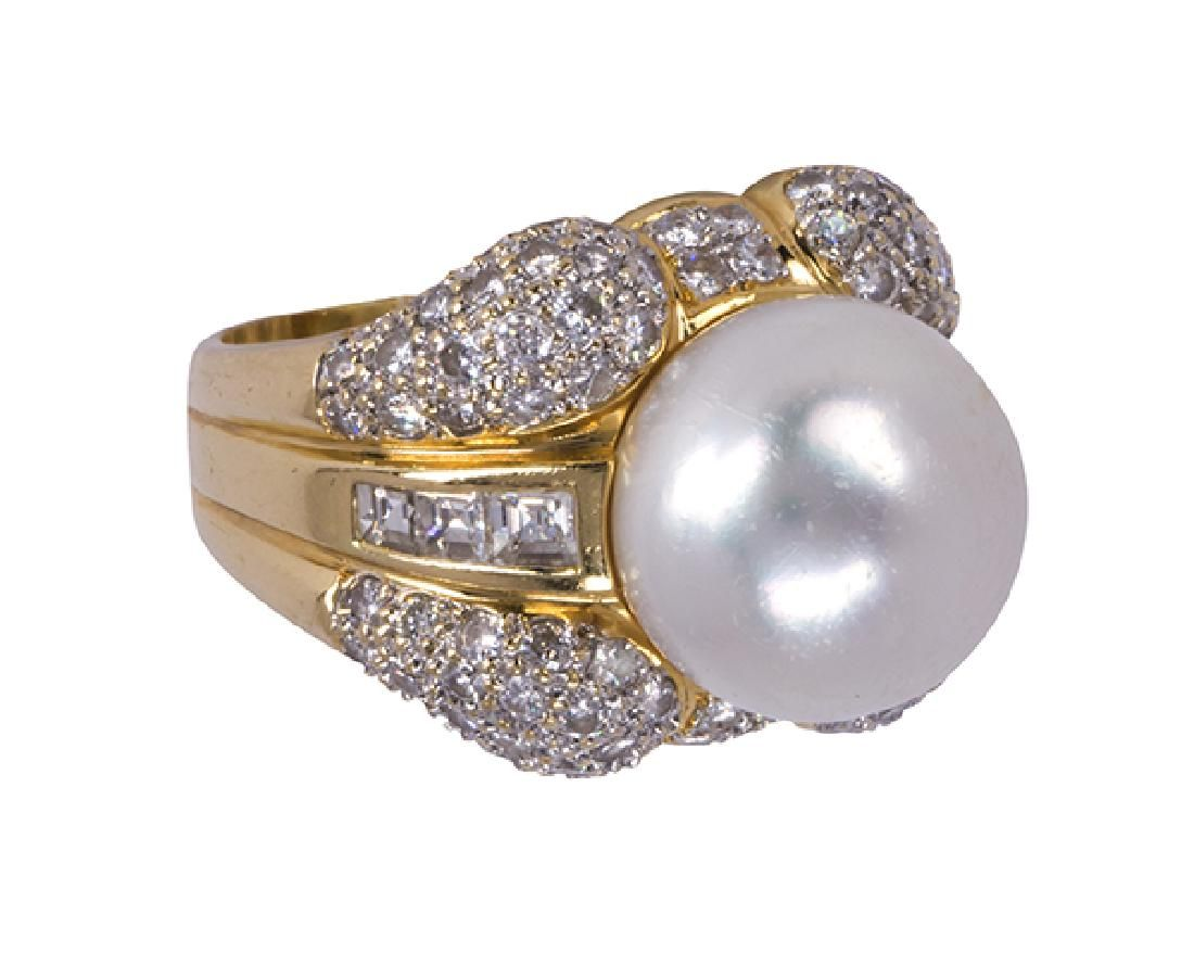 South Sea cultured pearl, diamond and 18k yellow gold