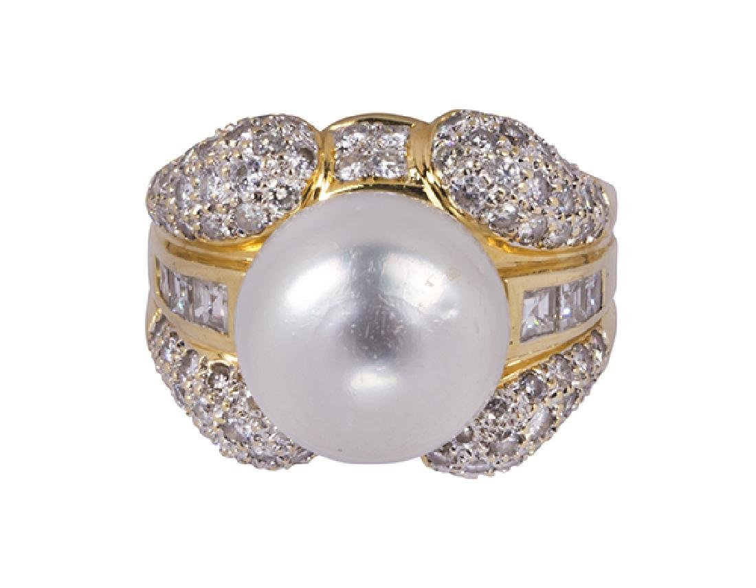 South Sea cultured pearl, diamond and 18k yellow gold - 2