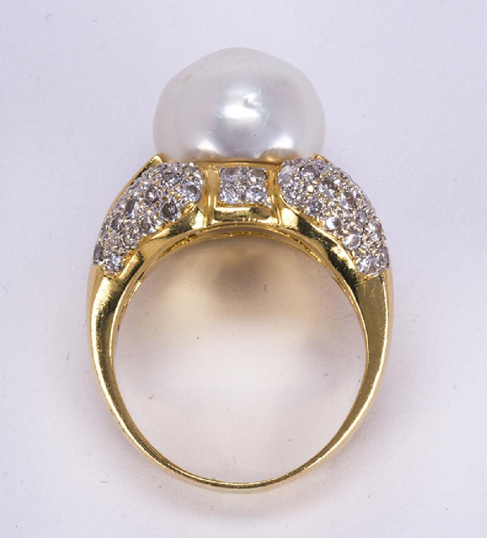 South Sea cultured pearl, diamond and 18k yellow gold - 4