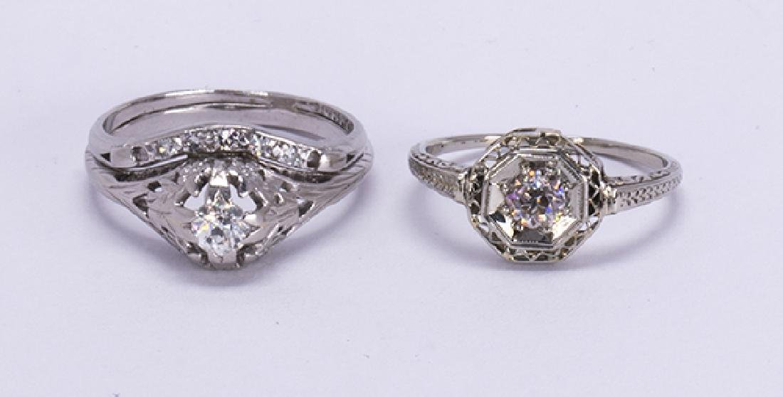 (Lot of 2) Diamond, platinum and white gold rings
