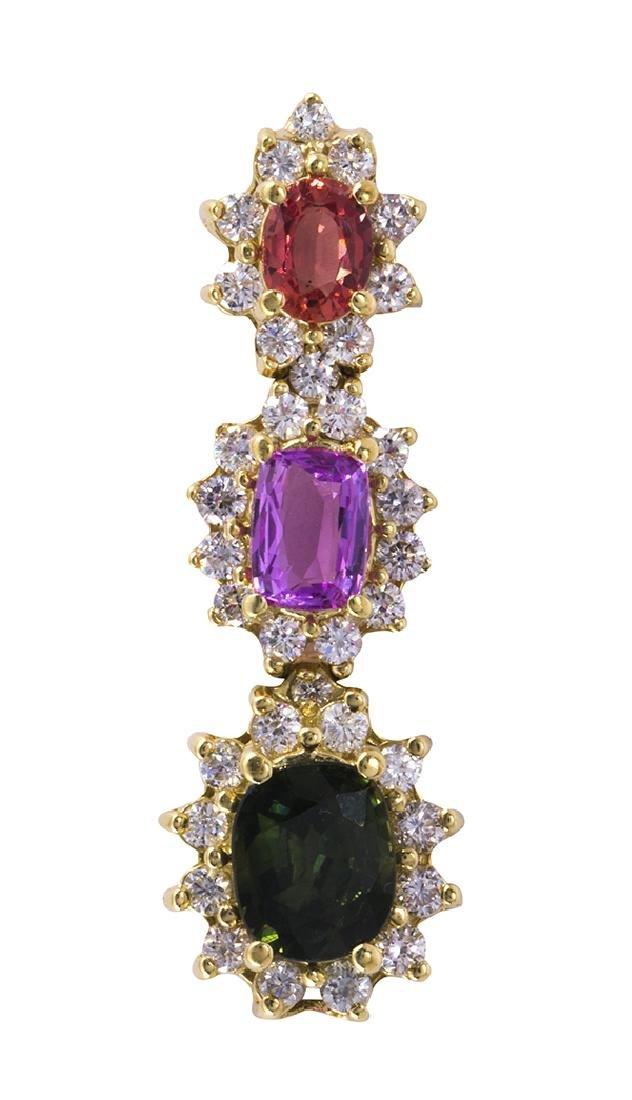 Multi-colored sapphire, diamond and 14k yellow gold