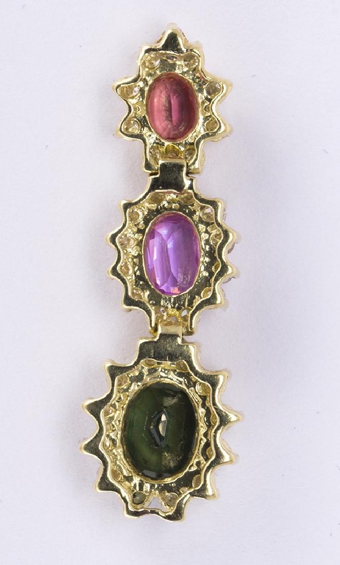 Multi-colored sapphire, diamond and 14k yellow gold - 2