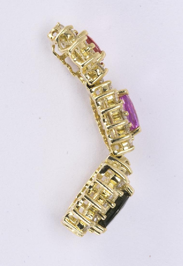 Multi-colored sapphire, diamond and 14k yellow gold - 3
