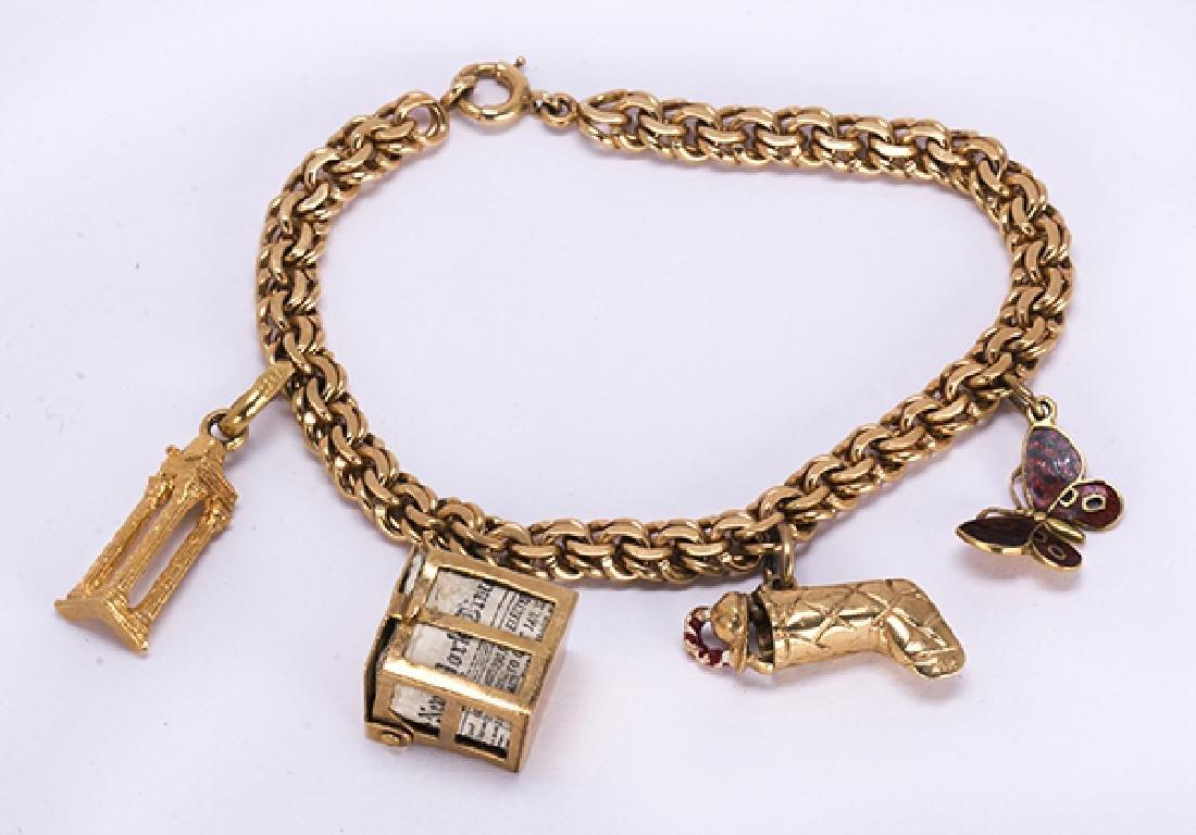 Enamel and yellow gold charm bracelet