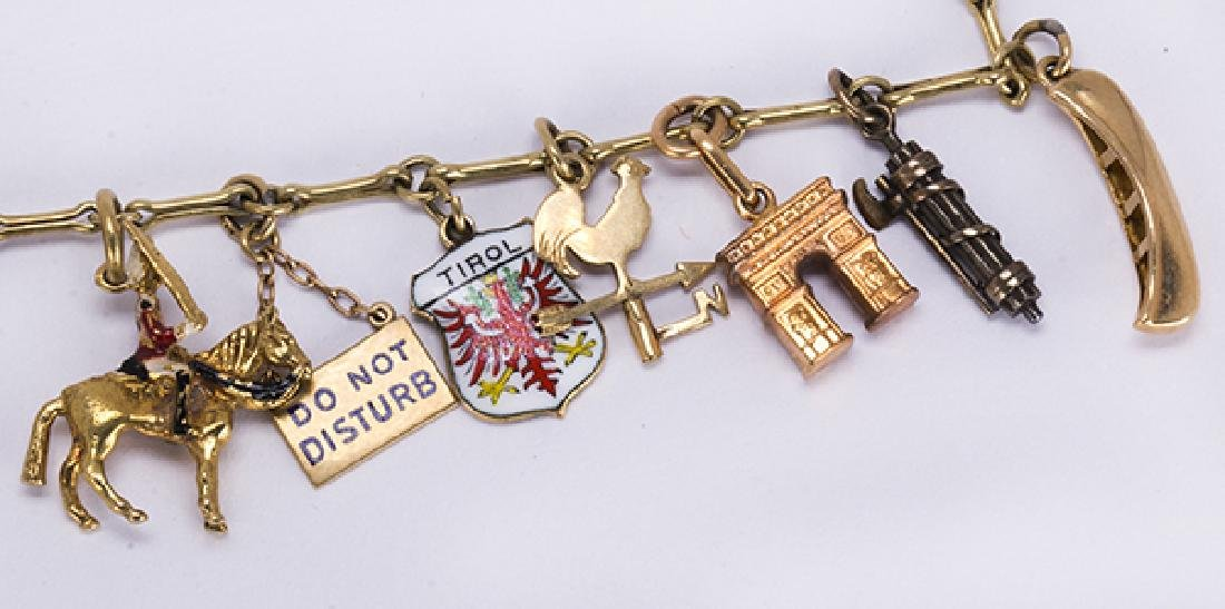 Yellow gold, silver and metal charm bracelet - 2