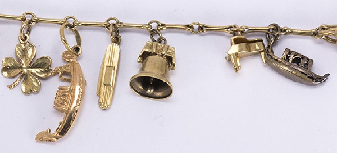 Yellow gold, silver and metal charm bracelet - 3