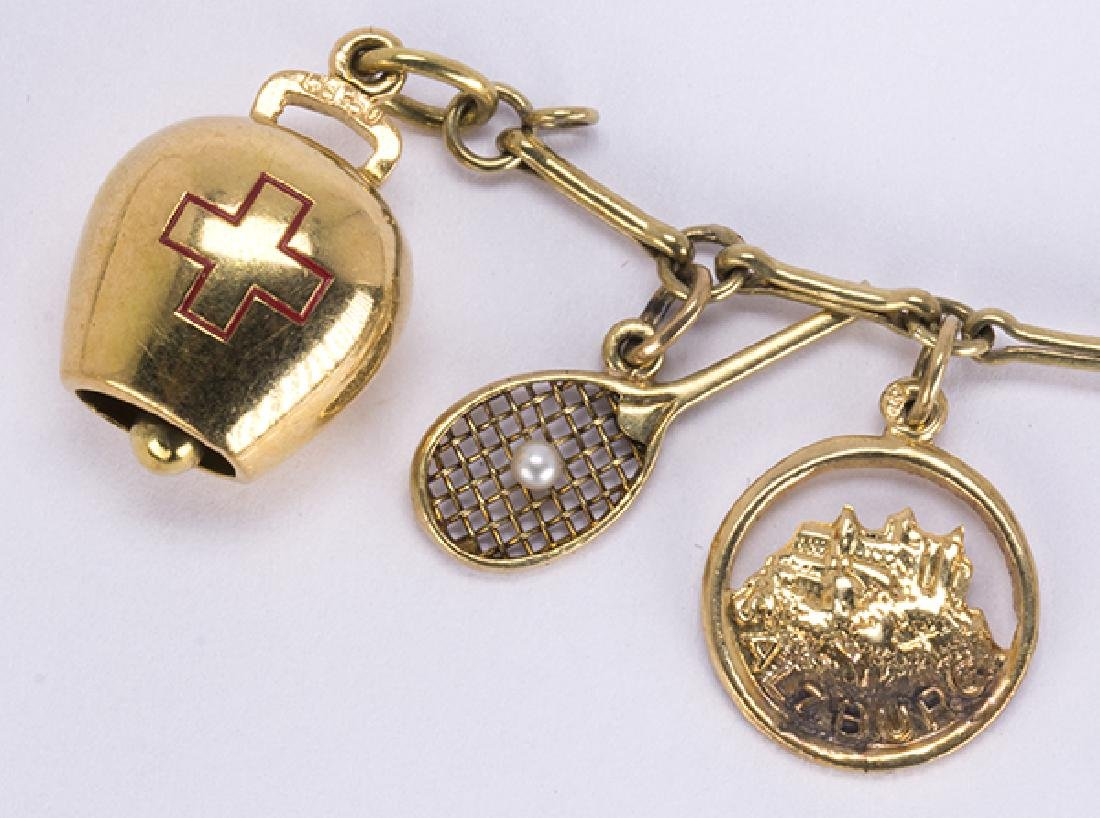 Yellow gold, silver and metal charm bracelet - 4