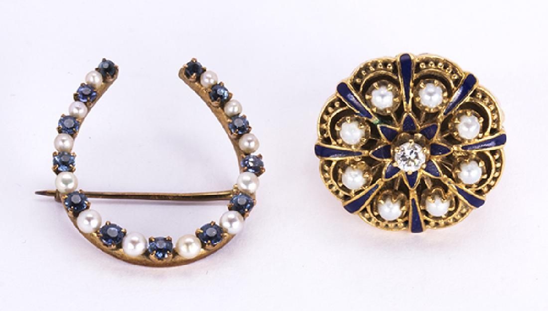 (Lot of 2) Victorian diamond, sapphire, pearl, enamel