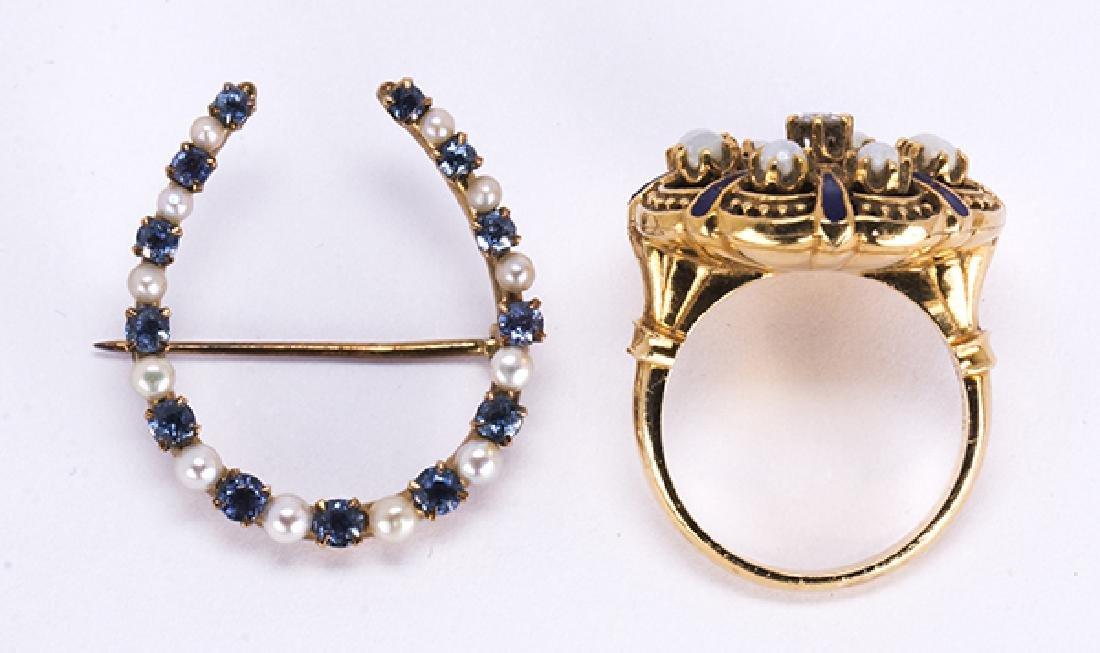 (Lot of 2) Victorian diamond, sapphire, pearl, enamel - 2
