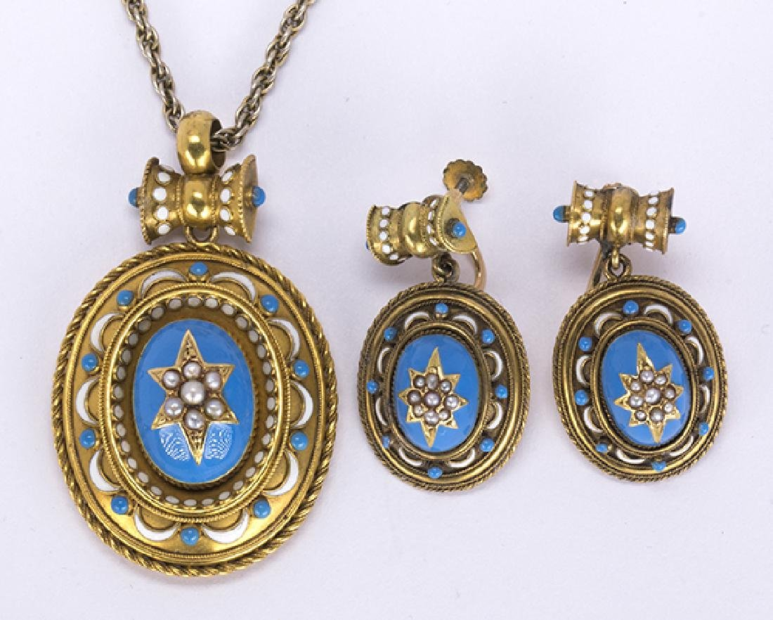Victorian enamel and 14k yellow gold jewelry suite