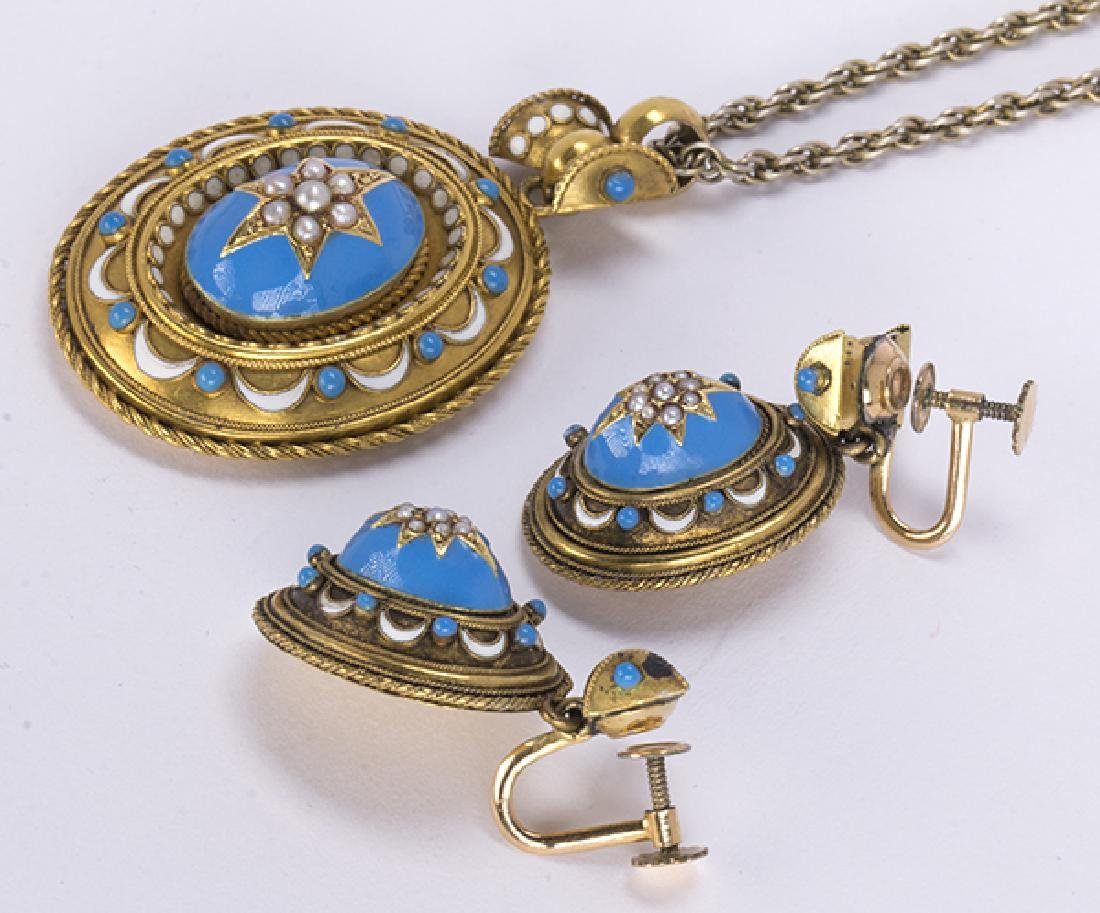 Victorian enamel and 14k yellow gold jewelry suite - 2