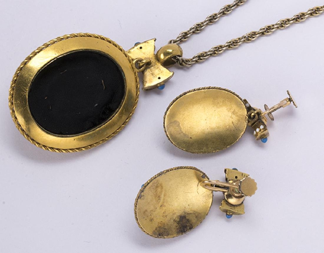 Victorian enamel and 14k yellow gold jewelry suite - 3